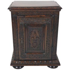 18th Century French Carved Walnut Single Door Side Cupboard