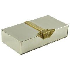 Maria Pergay Style Stainless Steel and Brass Large Game Box