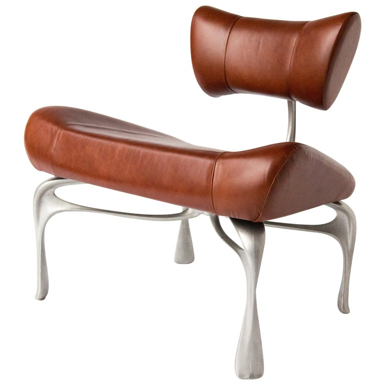 Victory Lounge Chair, Leather and Burnished Cast Aluminum, Jordan Mozer USA 2012 For Sale