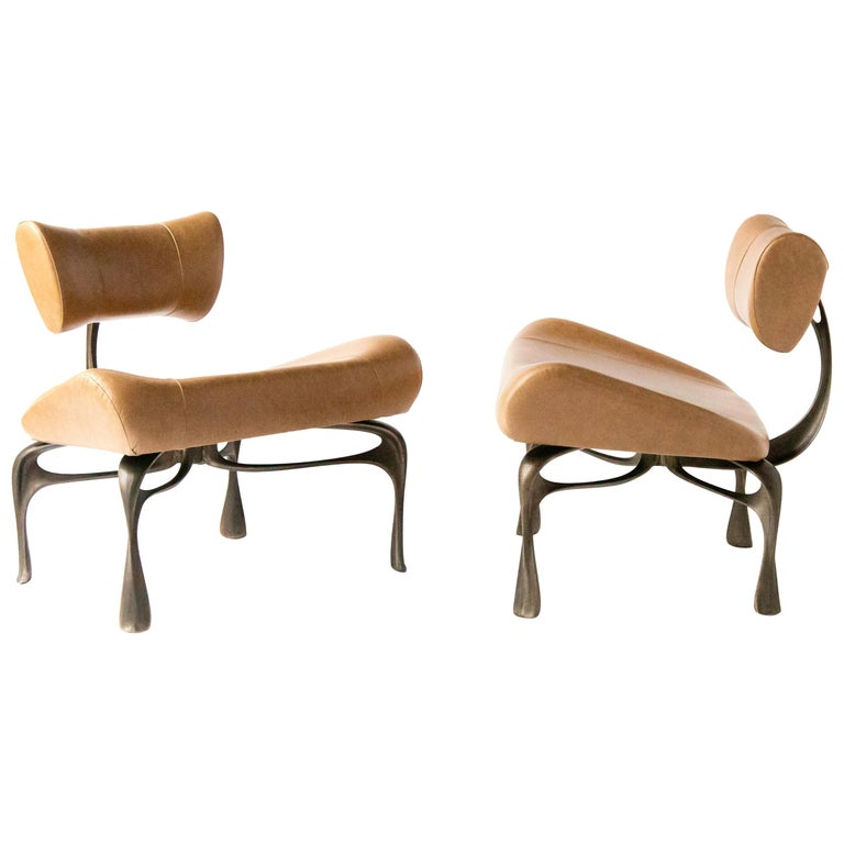 Victory Lounge Chair, Leather & Patinated Cast Aluminum, Jordan Mozer, USA, 2012 For Sale