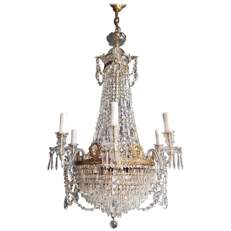 12 Piece Montgolfièr Empire Sac a Pearl Chandelier Crystal Lustre Ceiling Lamp For Sale
