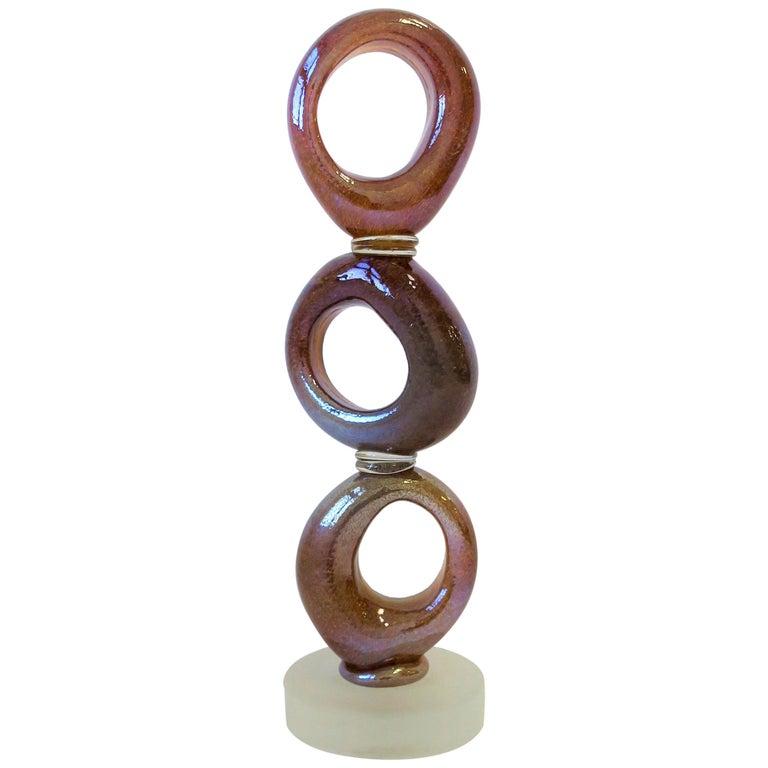 Tall Art Glass Sculpture Piece, circa 2000s For Sale