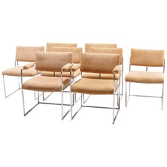 Set of Eight Chrome Dining Chairs Designed by Milo Baughman for Thayer Coggin