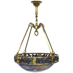 French Art Deco Bronze and Glass Pendant Chandelier After Muller Fres Luneville