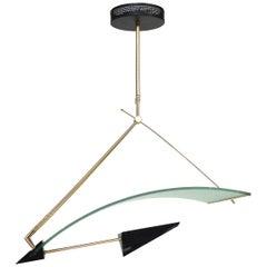 Sculptural Glass, Brass and Metal Postmodern Asymmetrical Chandelier
