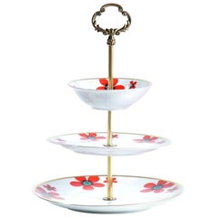 Three Layer Cake Stand in Brass and Porcelain, Czechoslovakia, circa 1960