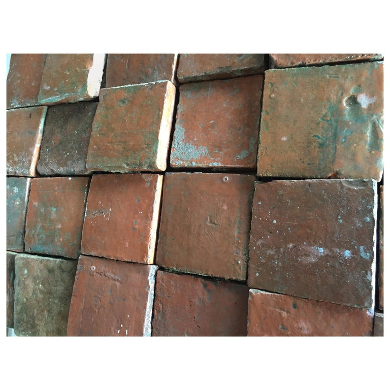 French Antique Square Terracotta from France, 18th Century For Sale