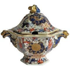 Georgian Mason's Ironstone Sauce Tureen and Cover Gilded Japan Basket Pattern