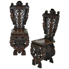 Pair of Fine Italian Renaissance Walnut Hall Chairs
