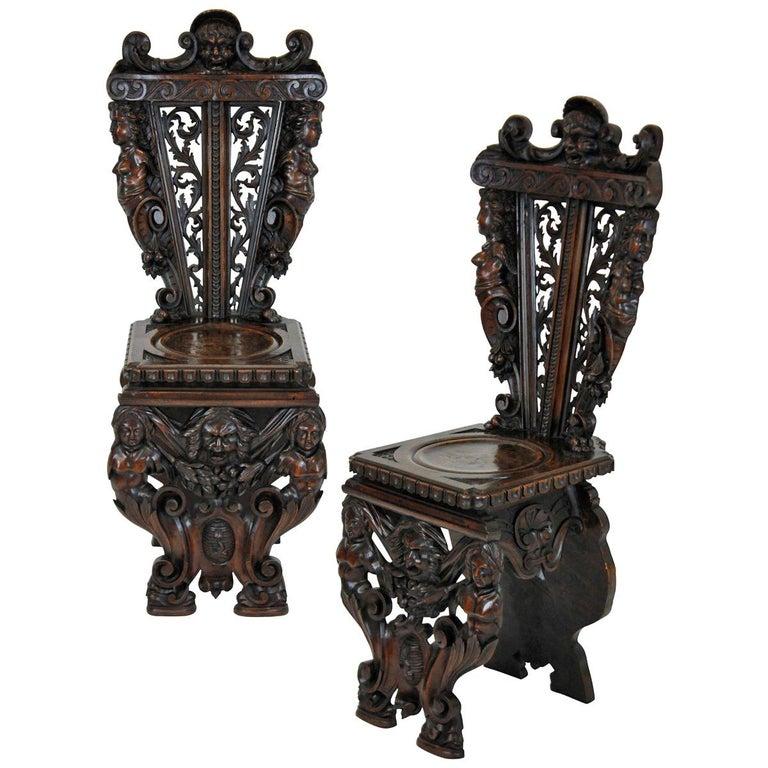 Pair of Fine Italian Renaissance Walnut Hall Chairs For Sale