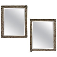 Large Pair of Distressed Painted Mirrors