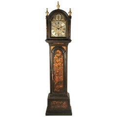 Small green japanned 18th century chinoiserie long case clock