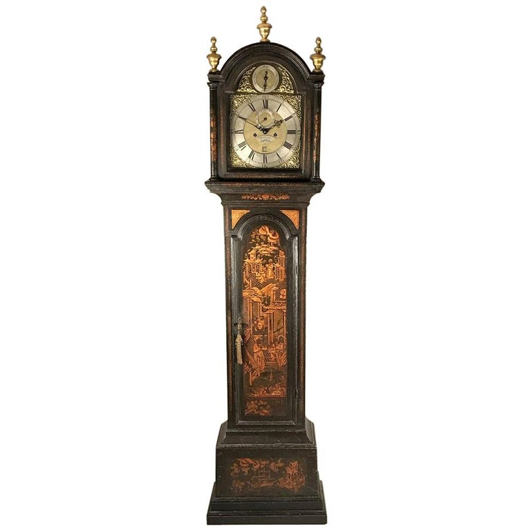 Small Georgian Green Japanned Lacquer Chinoiserie Longcase Clock, 18th Century For Sale