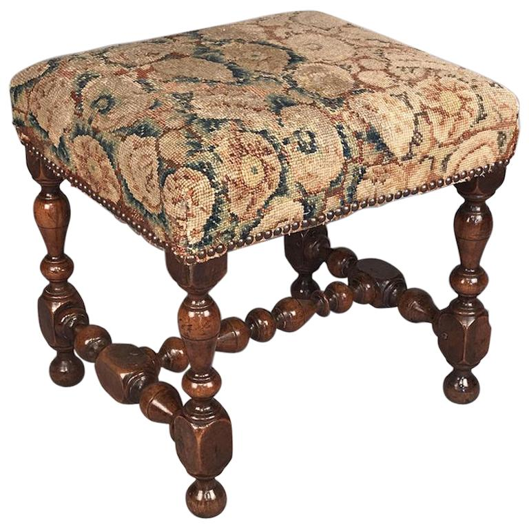 Rare 17th Century Walnut Stool For Sale