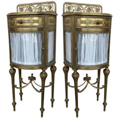 Louis XVI Pair of Bronze Vitrine Nightstand with Curved Glass Door and Drawer