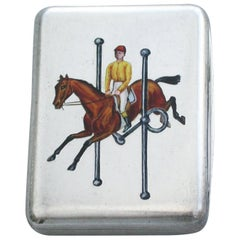 Victorian Silver and Enamel Vesta Case Horse Jumping a Snaffle Bit, London, 1891