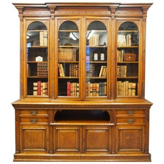 Late Victorian Oak Breakfront Bookcase