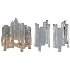 Midcentury Kalmar Ice Glass Chandelier and 2 Wall Mount Lamps, 1960s