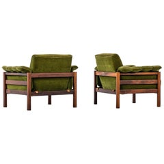 Pair of Easy Chairs Attributed to Percival Lafer in Rosewood and Velvet Fabric