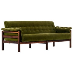 Sofa Attributed to Percival Lafer in Rosewood and Velvet Fabric