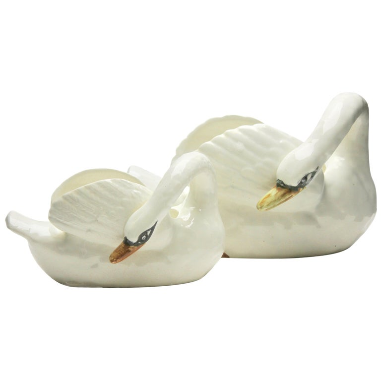 Majolica Set of White Swans Jardinière Stamped Imperiale Nimy Belgium circa 1900 For Sale
