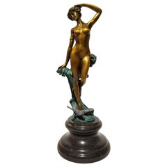 20th Century Art Deco Sculpture Figure Bronze the Wave