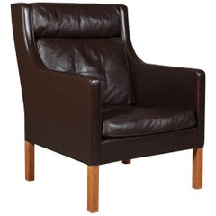 Børge & Peter Mogensen Lounge Chair in Brown Leather, Model 2431