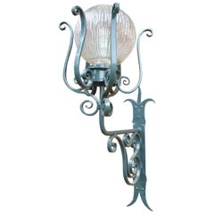 Imposing Art Nouveau Wrought Iron Outdoor Lamp