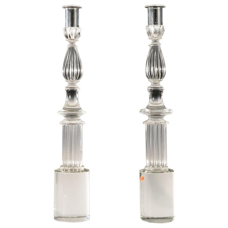 Pair of Seguso Candlesticks by John Loring of Tiffany & Co For Sale