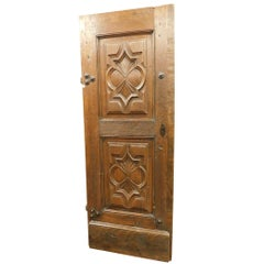 17th Century Very Ancient Wood Entrance Door, Brown Walnut, Italy, Restored+Key