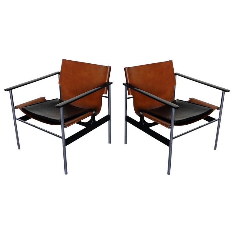 Pair of 657 Sling Lounge Chairs by Charles Pollock for Knoll, 1964 For Sale