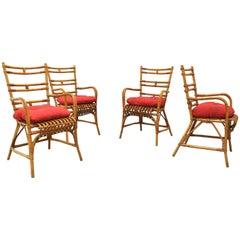 Set of 4 Midcentury Italian Chairs in Bonacina Style, 1960s