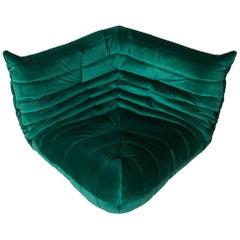 Togo Corner Couch in Bottle Green Velvet by Michel Ducaroy by Ligne Roset