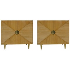 L.A. Studio Ashwood and Brass Pair of Italian Sideboards