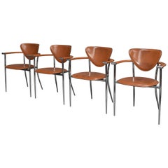 Arrben Italia Dining Chairs in Tan Leather