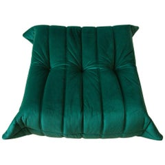 Togo Ottoman in Bottle Green Velvet by Michel Ducaroy, Ligne Roset