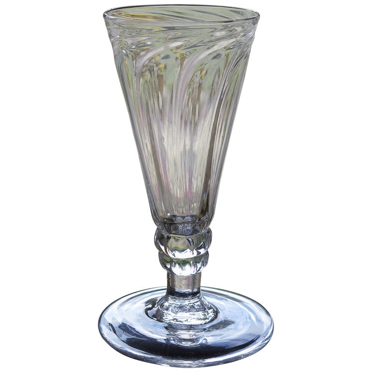 Mid-Georgian Dwarf Ale Drinking Glass Wrythen Bowl Hand Blown English circa 1760 For Sale