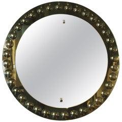 1950s Round Mirror, Intaglio Grey-Green Mirror Frame, Italy