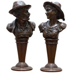 Stunning Pair of Rare Original Victorian Solid Miniature Bronze Bust Statues