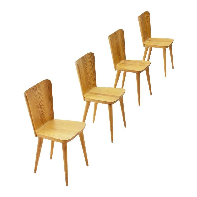 Four Pine Dining Chairs by Goran Malmvall for Karl Andersson & Söner, Sweden For Sale