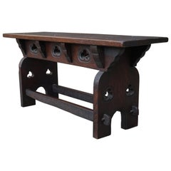 Handcrafted & Hand Carved Gothic Revival Hall Bench or Stool Made of Solid Oak