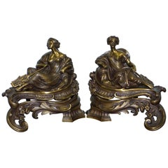 Stunning Pair of Early Louis XVI French Bronze Chenets after Bouhon Fres, Paris