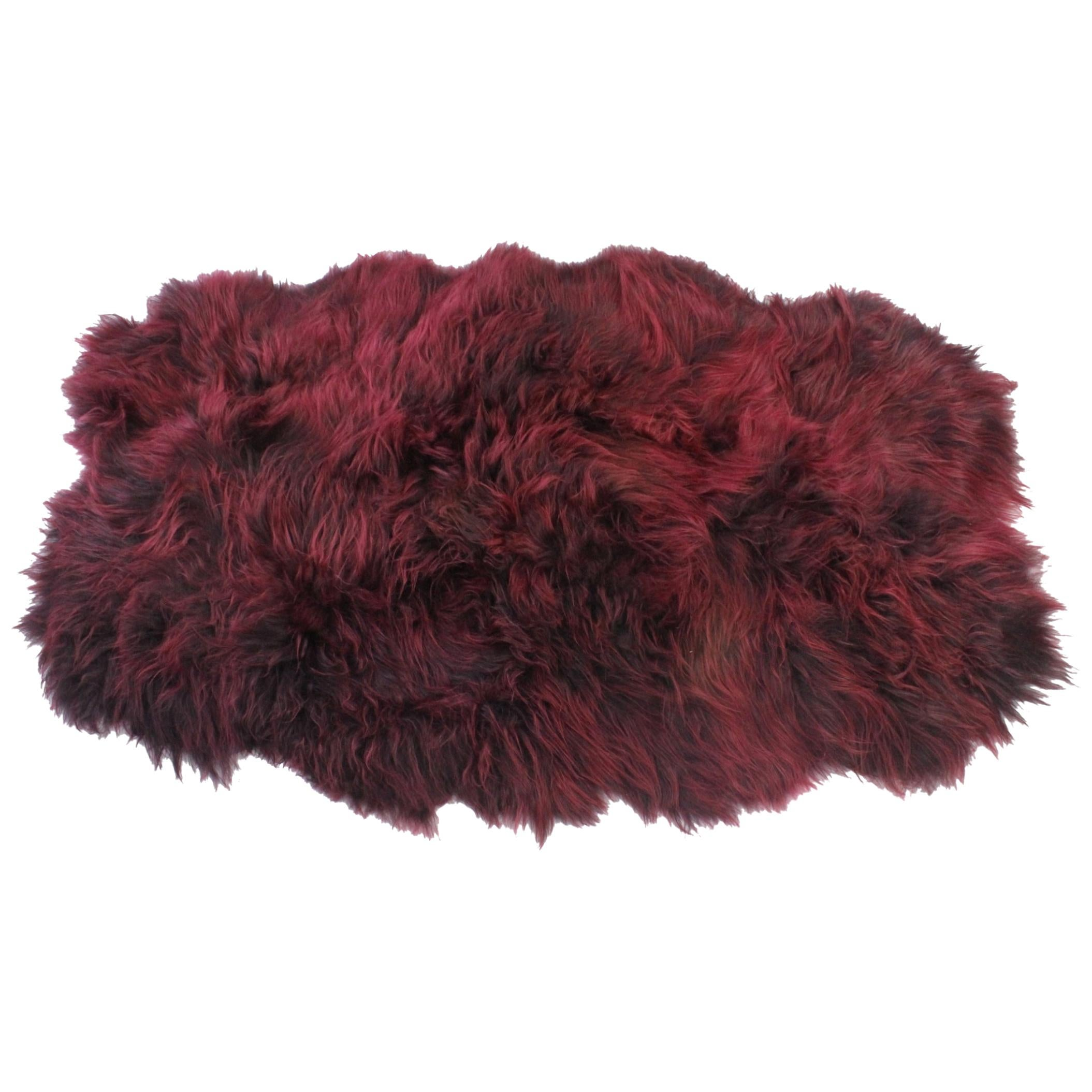 Bordeaux Red Shaggy Rug  Icelandic Sheepskin Rug - Quad