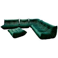 Green Velvet Togo Sofa Set by Michel Ducaroy for Ligne Roset, Set of 5