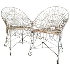 Antique Edwardian Wirework Garden Chairs