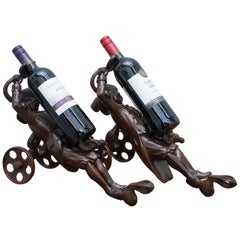 Rare Pair of Original circa 1880 Black Forest Carved Wood Wine Bottle Holders