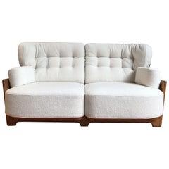 Guillerme and Chambron Midcentury Solid Oak Sofa for Votre Maison, circa 1960