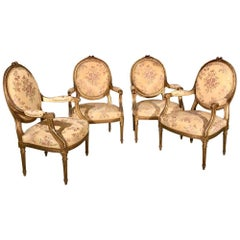 Set of 4 Late 19th Century Gilt Open Armchairs