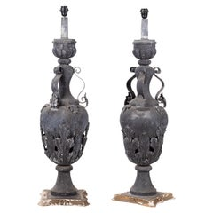 19th Century Pair of French Vase Shaped Metallic Table Lamps