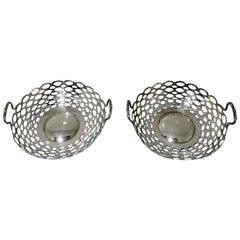Edwardian Pair of Sterling Silver Dishes Birmingham 1908 A & J Zimmerman Ltd